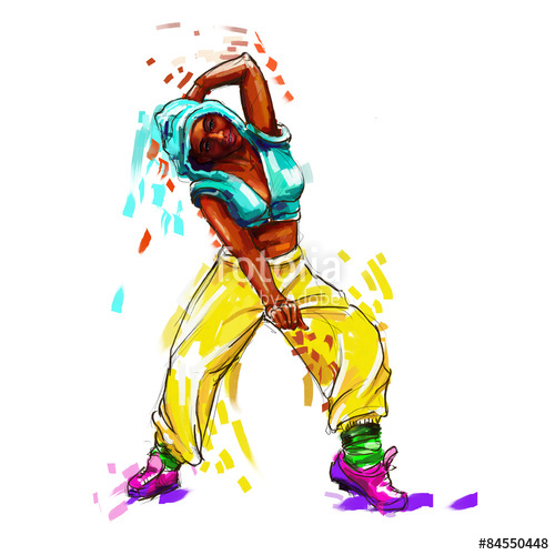 500x500 Hip Hop Dancer Digital Painting Hip Hop Girl Stock Photo