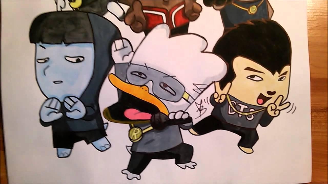 1280x720 Bangtan Boys Hip Hop Monster Drawing