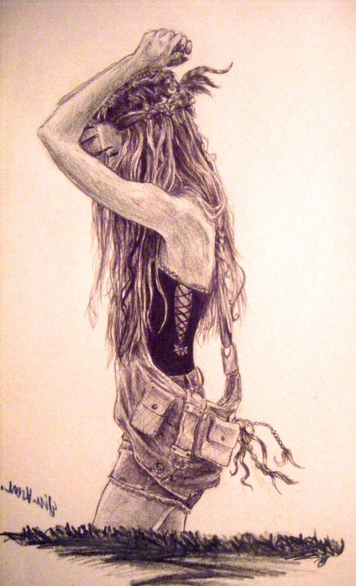 697x1147 Drawing Girl Most Beautiful Cover Pic Best Hippie Drawing