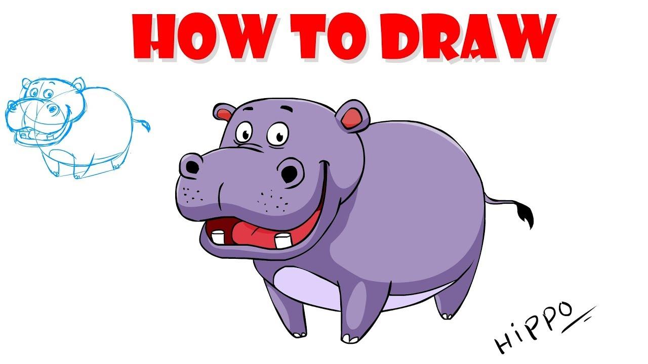 1280x720 How To Draw Cartoon Hippo Drawing Tutorial Digital Art