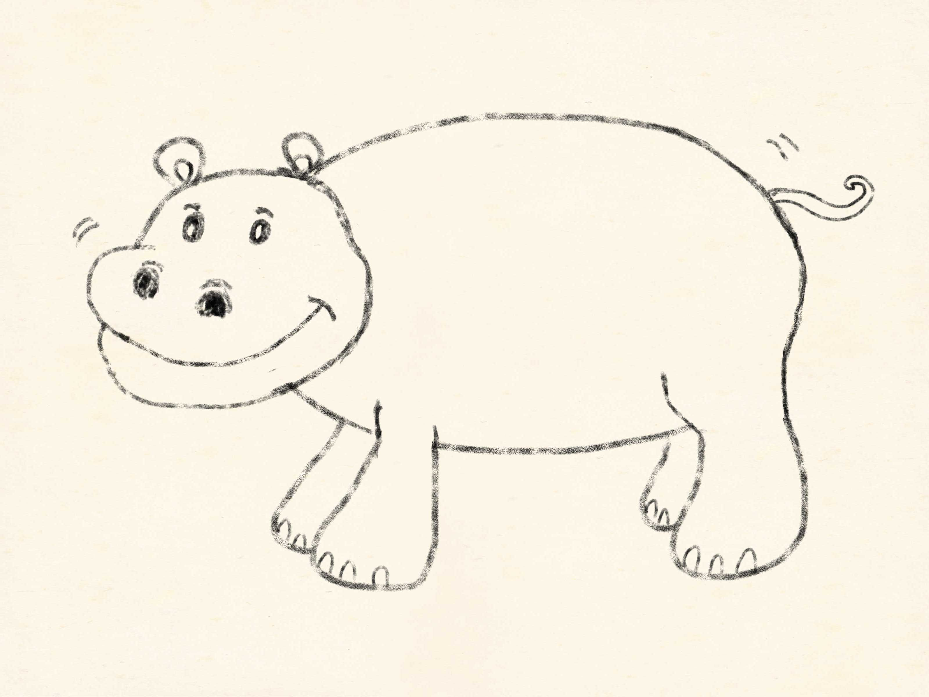 3200x2400 How To Draw A Cartoon Hippo 5 Steps (With Pictures)