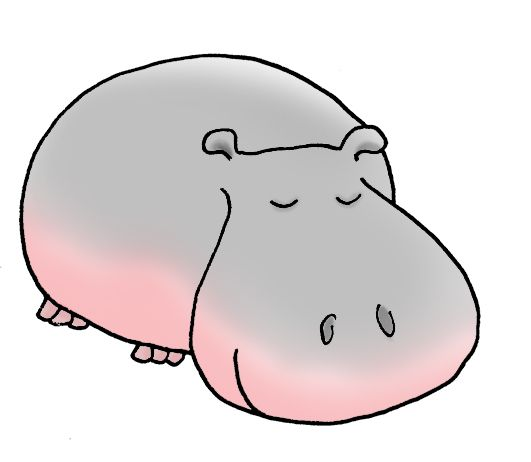 531x462 Realistuc Hippo Illustrations Cartoon Hippo Sweet Simple Hippo