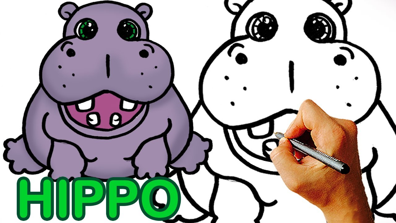 1280x720 Very Easy! How To Draw Cute Cartoon Hippo Art For Kids.