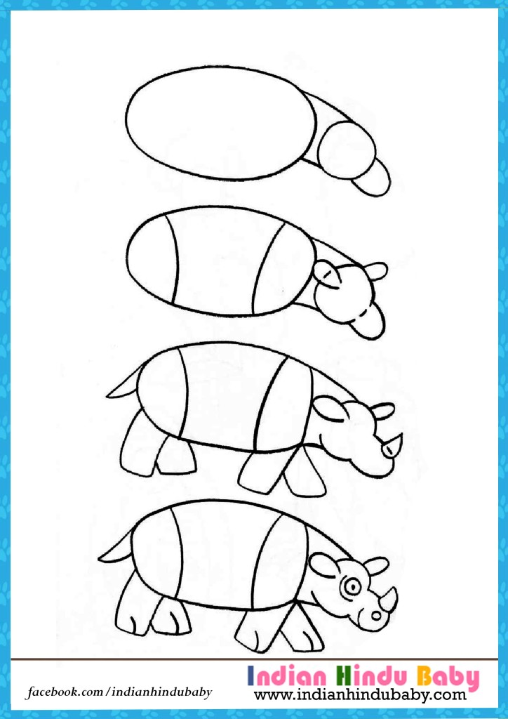 724x1024 Hippo Step By Step Drawing For Kids Indian Hindu Baby