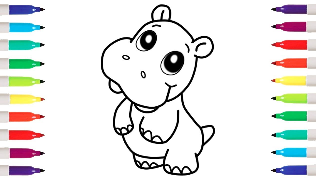 1280x720 How To Draw Cute Hippopotamus Coloring Pages Drawing With Kids