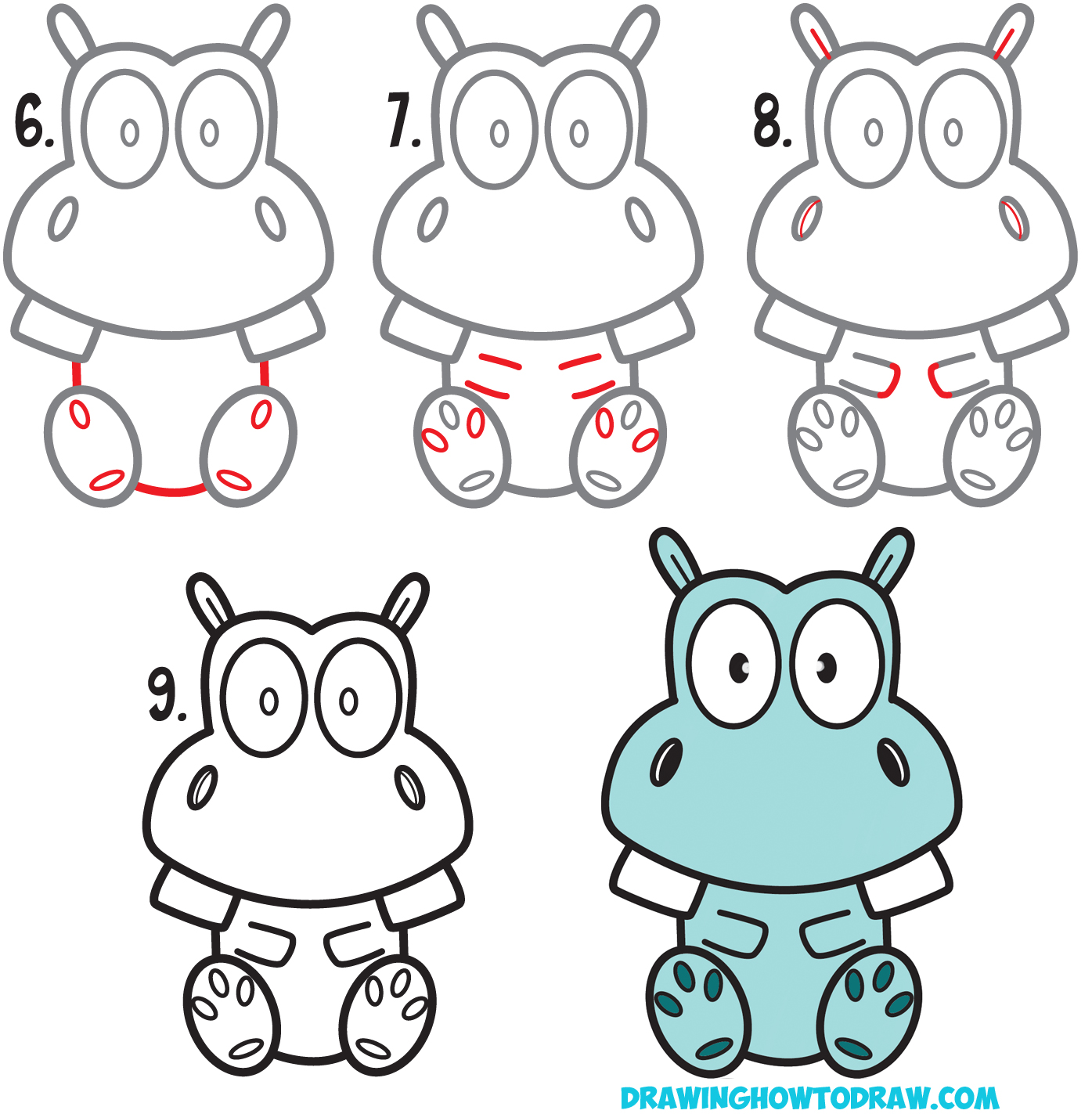 1395x1423 How To Draw A Cute Cartoon Hippo Simple Steps Drawing Lesson