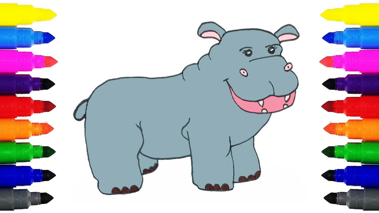 1280x720 How To Draw A Hippo For Kids Drawing And Coloring Hippopotamus