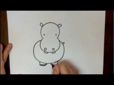 480x360 How To Draw A Hippopotamus Step By Step Hippo Drawing For Kids
