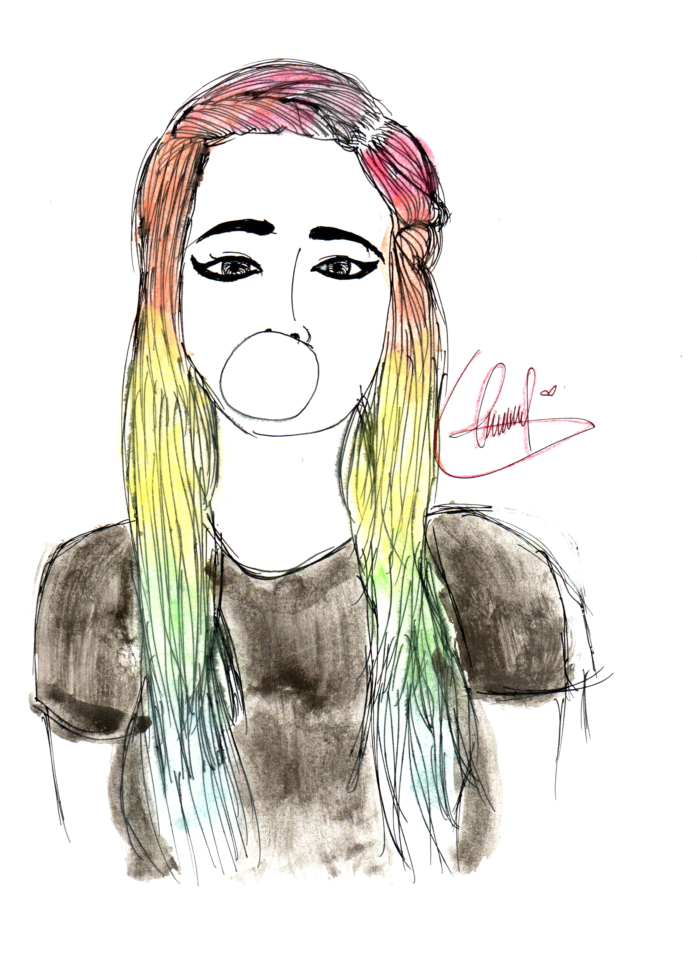 2293x3201 Hipster Girl Drawing