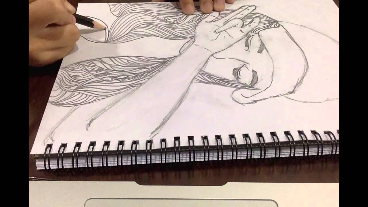 1280x720 Tumblr Hipster Girl Drawing