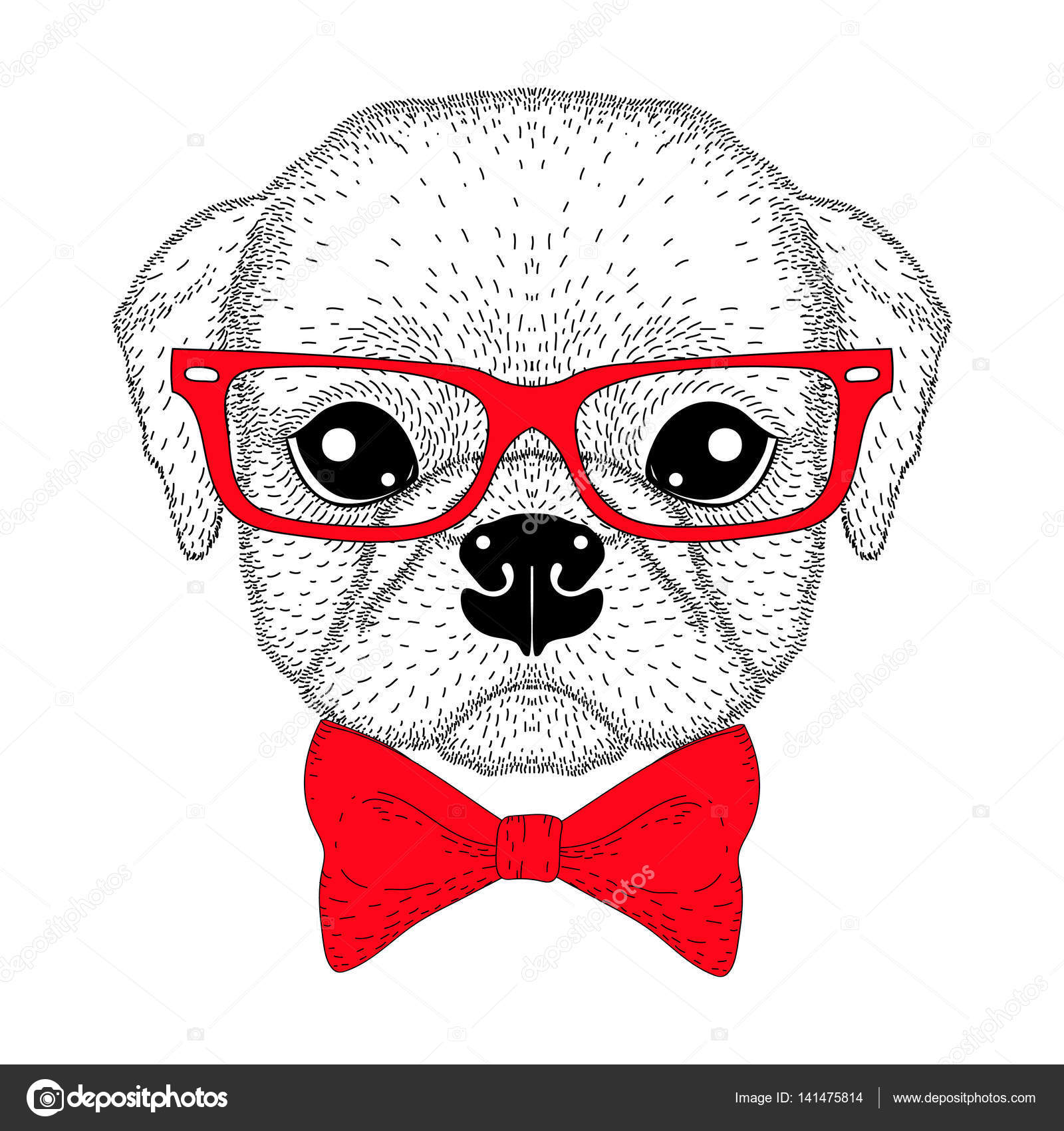 1600x1700 Cute Pug Boy Portrait With Bow Tie, Hipster Glasses. Hand Drawn