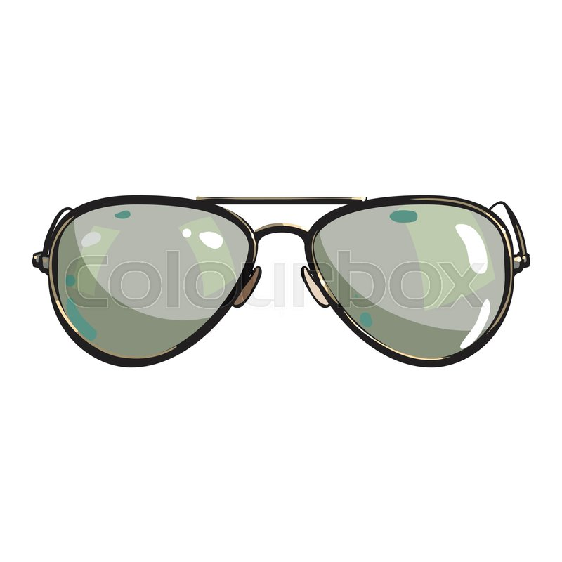800x800 Hand Drawn Aviator Sunglasses In Metal Frame With Green Lenses
