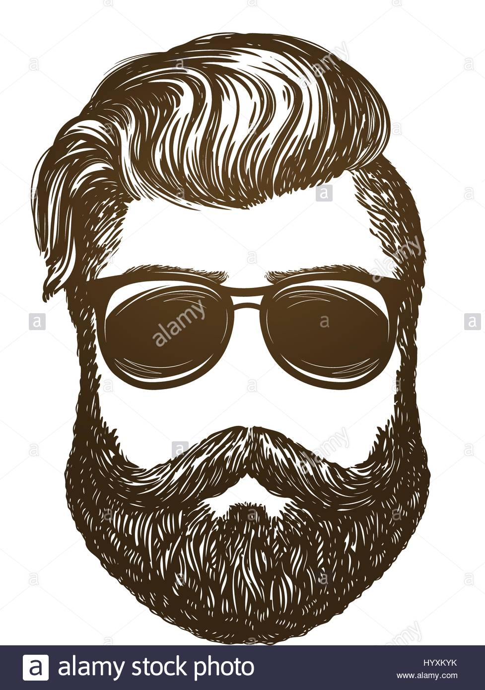 977x1390 Hand Drawn Portrait Of Man With Beard. Hipster, Sunglasses Sketch
