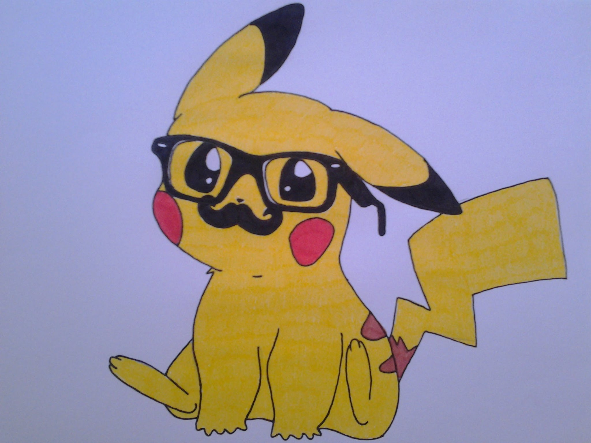 2048x1536 How To Draw A Cute Pikachu, With Hipster Glasses And Mustache