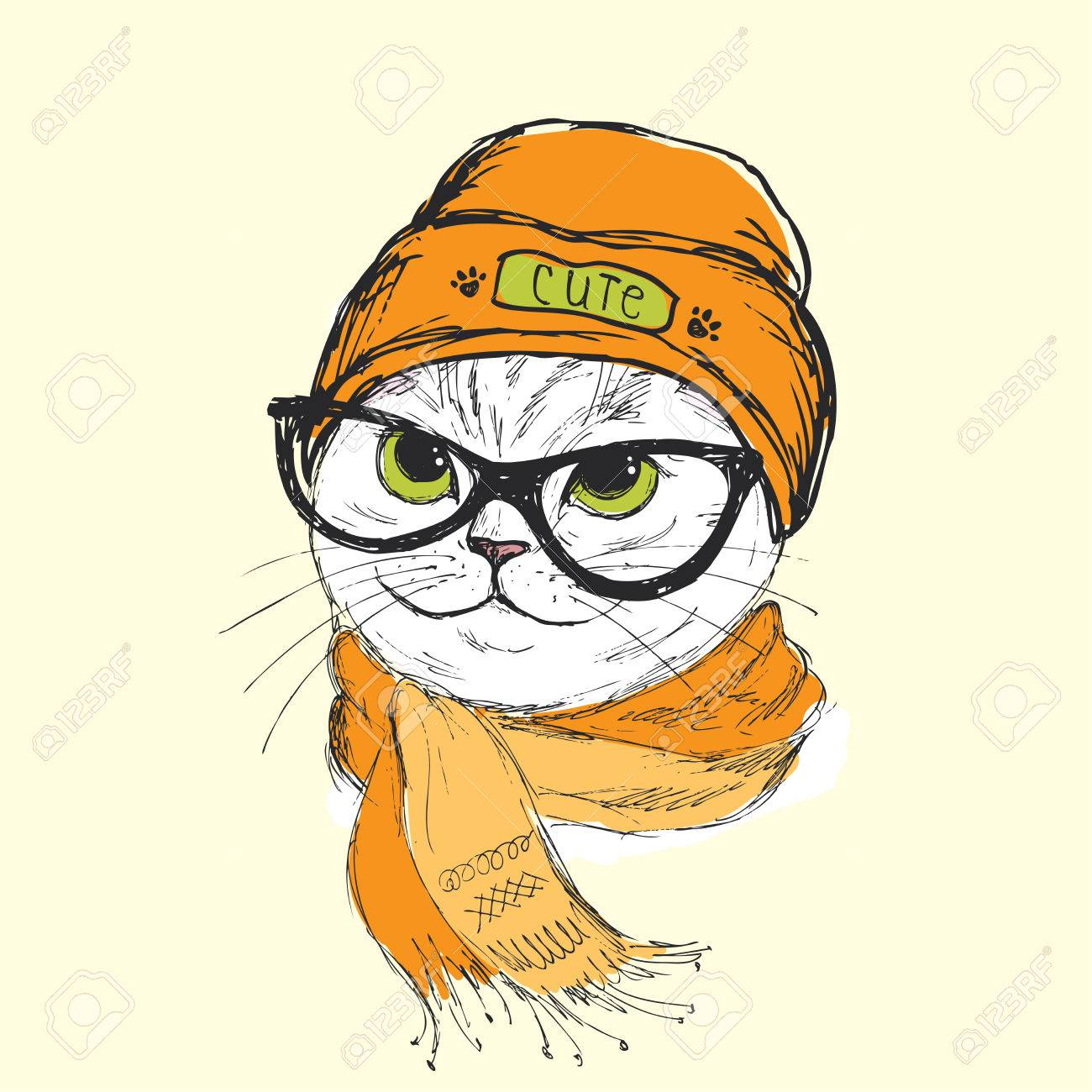 1300x1300 Portrait Of Cat Hipster With Glasses,hat And Scarf, Hand Drawn