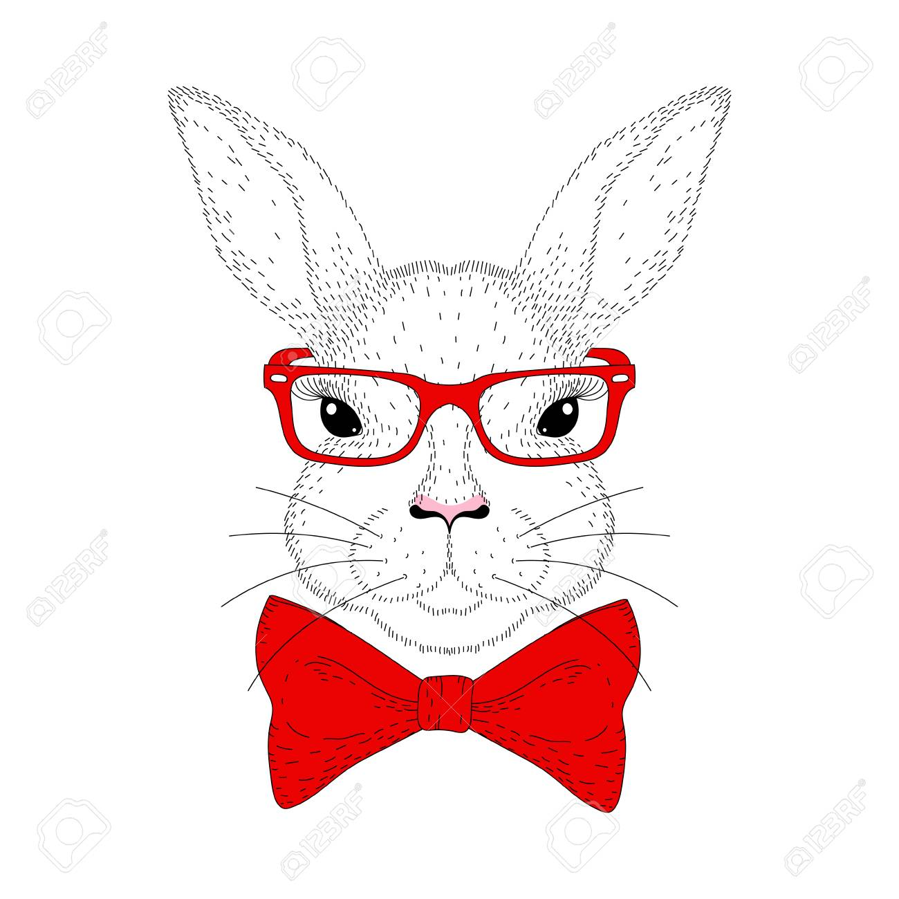 1300x1300 Vector Cute Bunny Portrait. Hand Drawn Rabbit Head With Red Bow