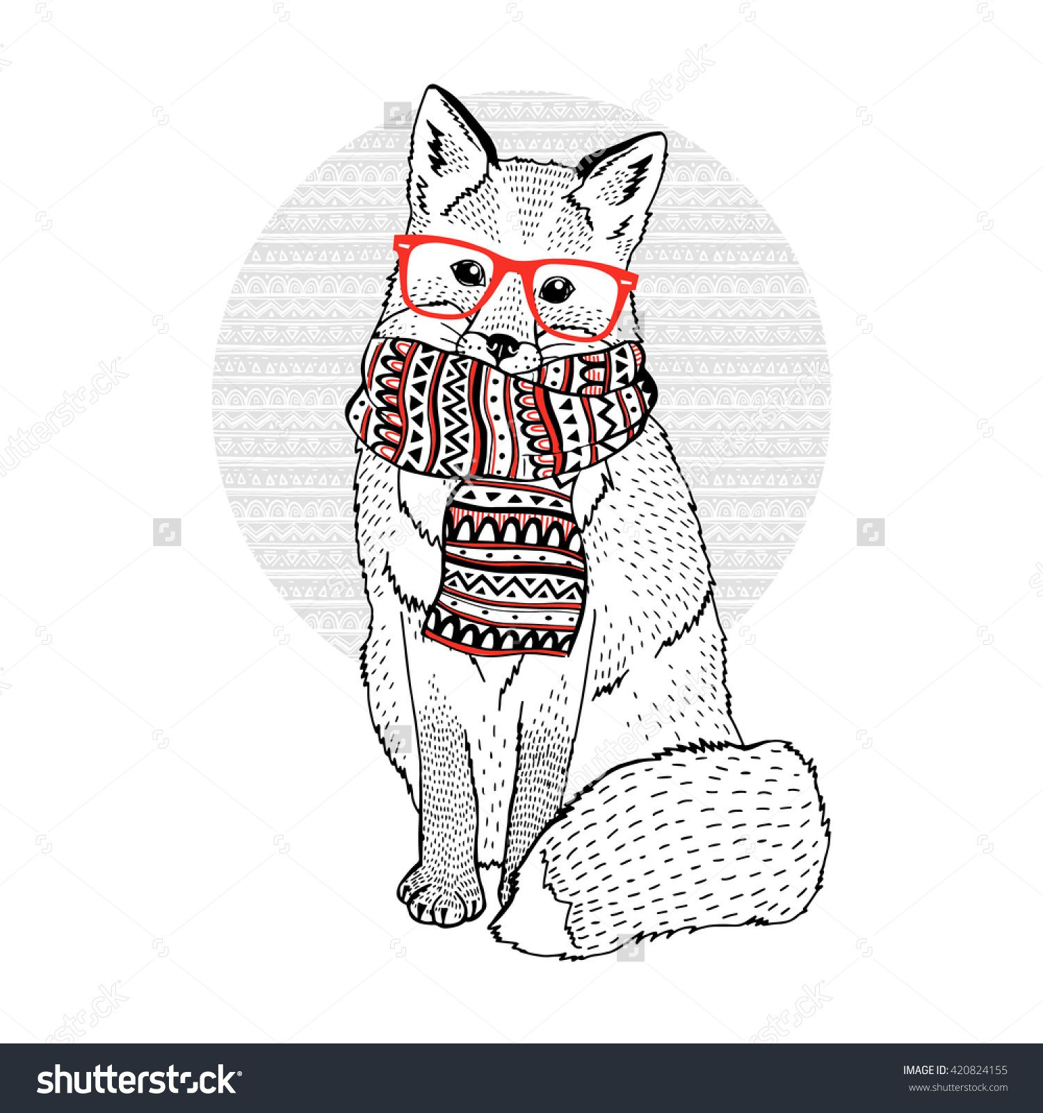 1500x1600 Cute Fox Wearing Hipster Glasses And Ornate Scarf, Decorative