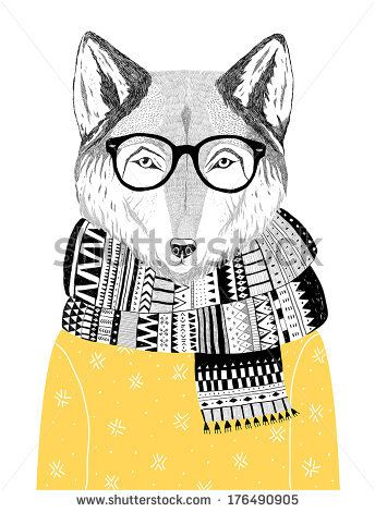 344x470 Hand Drawn Wolf Portrait In Hipster Glasses, Scarf And Sweater