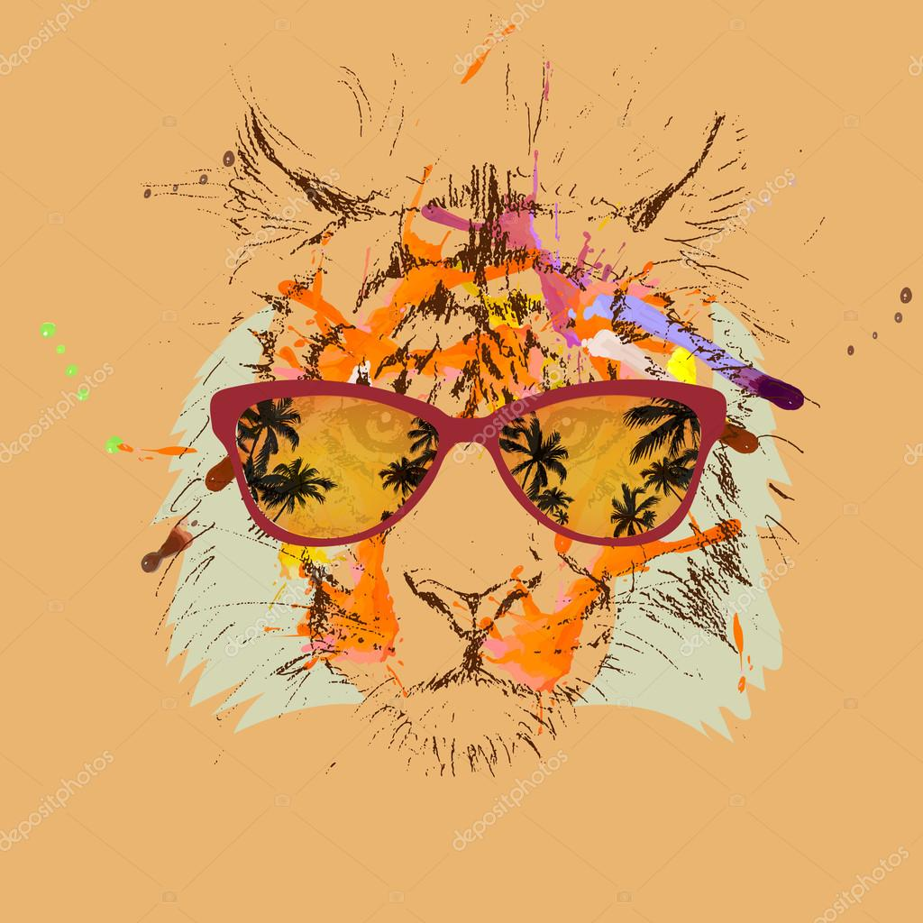 1024x1024 Vector Tiger Hipster Glasses Drawing, Illustration Stock Vector