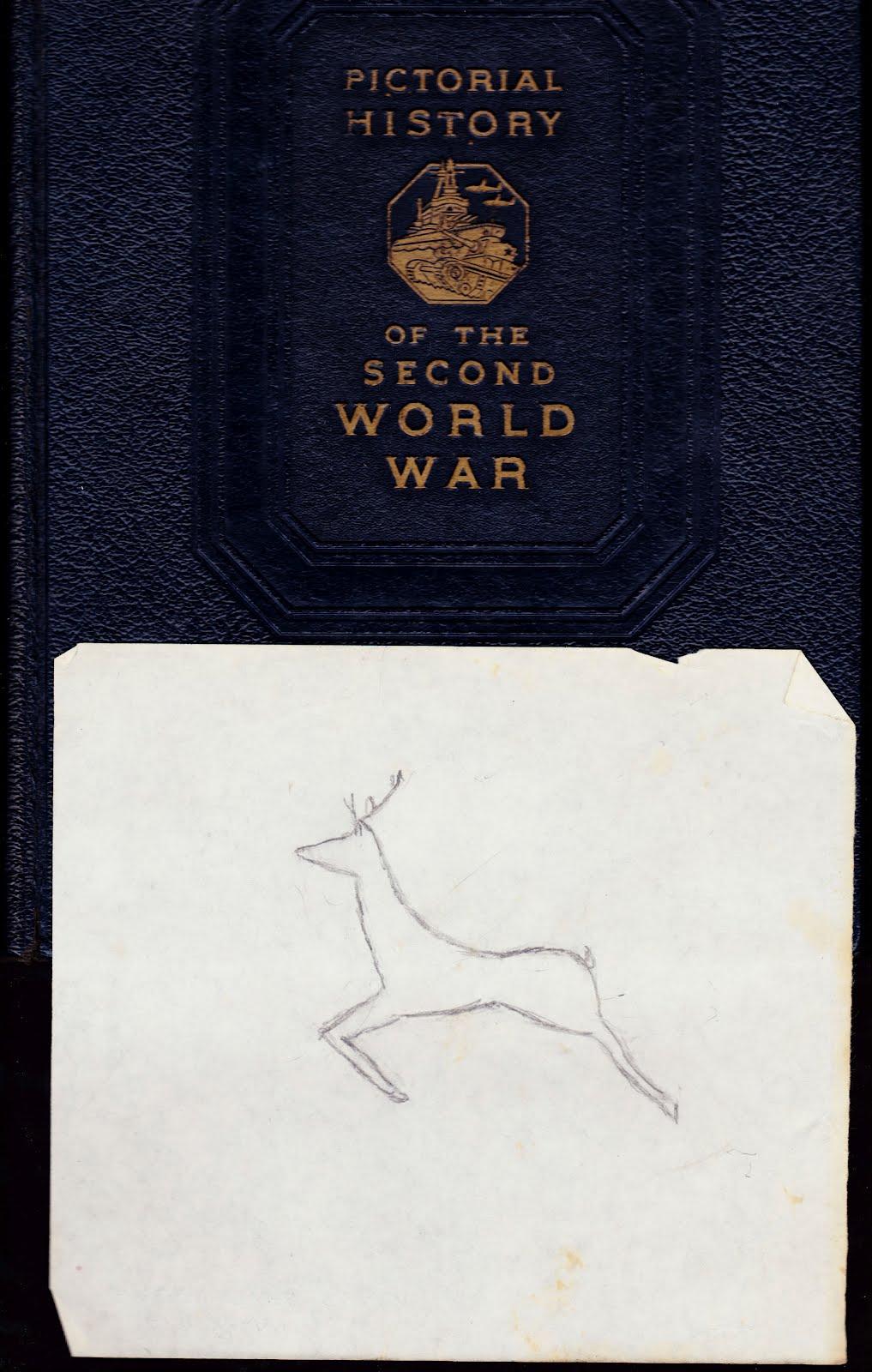 1017x1600 Papergreat Deer Drawing Inside A World War Ii History Book