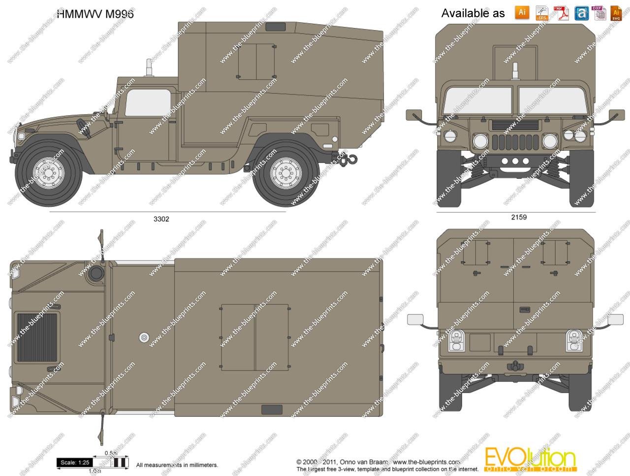 1280x966 Hmmwv M996 Vector Drawing