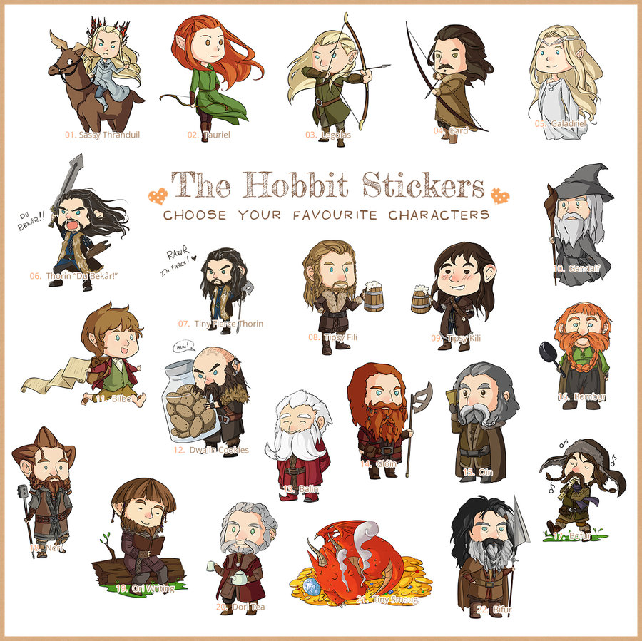 900x899 The Hobbit Stickers