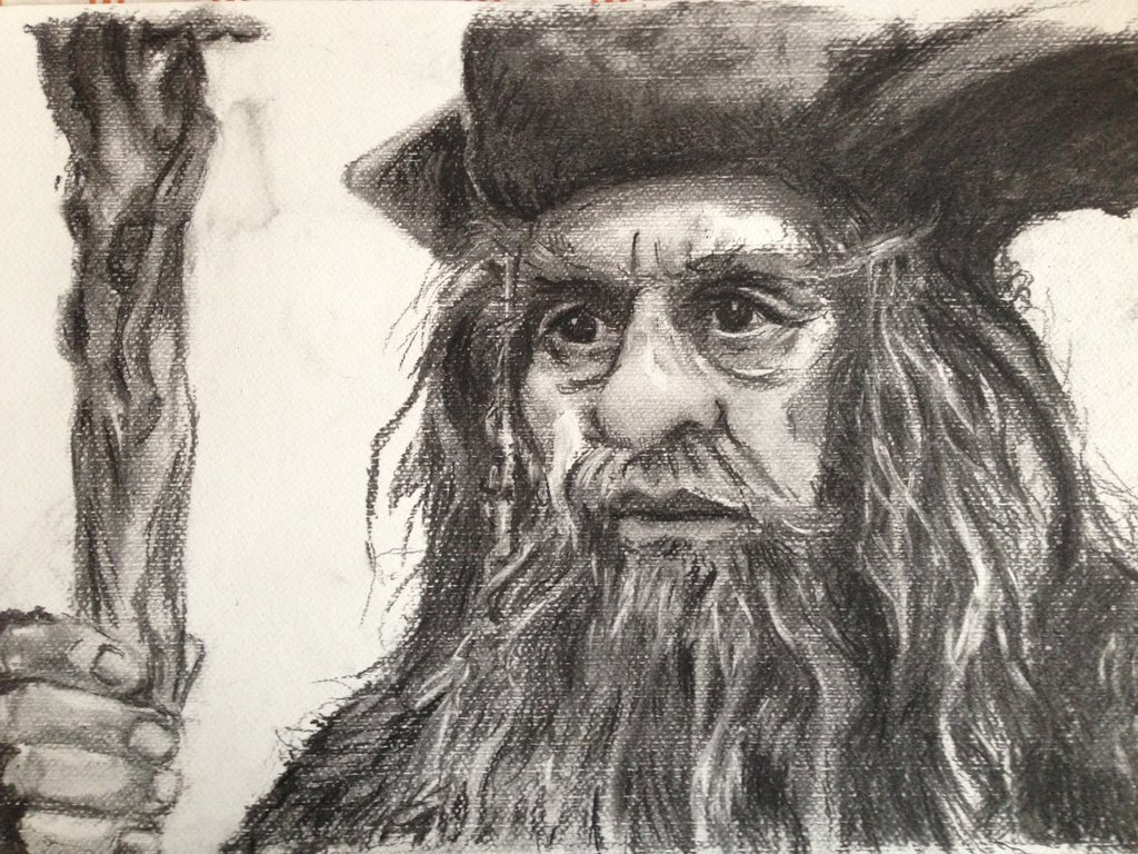 1024x768 Charcoal Drawing The Hobbit's Radagast The Brown By Barbarian J