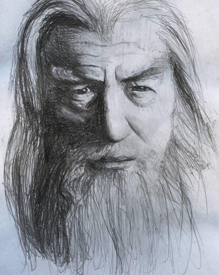 710x894 The Hobbit Gandalf Portrait Drawing Lord Of The Rings Ian Mckellen