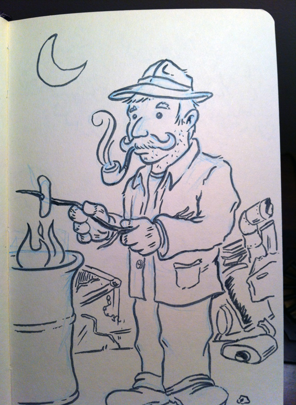 600x819 My Drawing Of A Hobo With A Keen Mustache Art In The Margins
