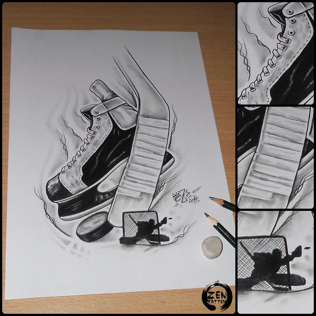 1007x1007 Ice Hockey Pencil Drawing By Blaze