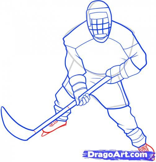 503x520 Hockey Player Drawings Step 8. How To Draw A Hockey Player Art