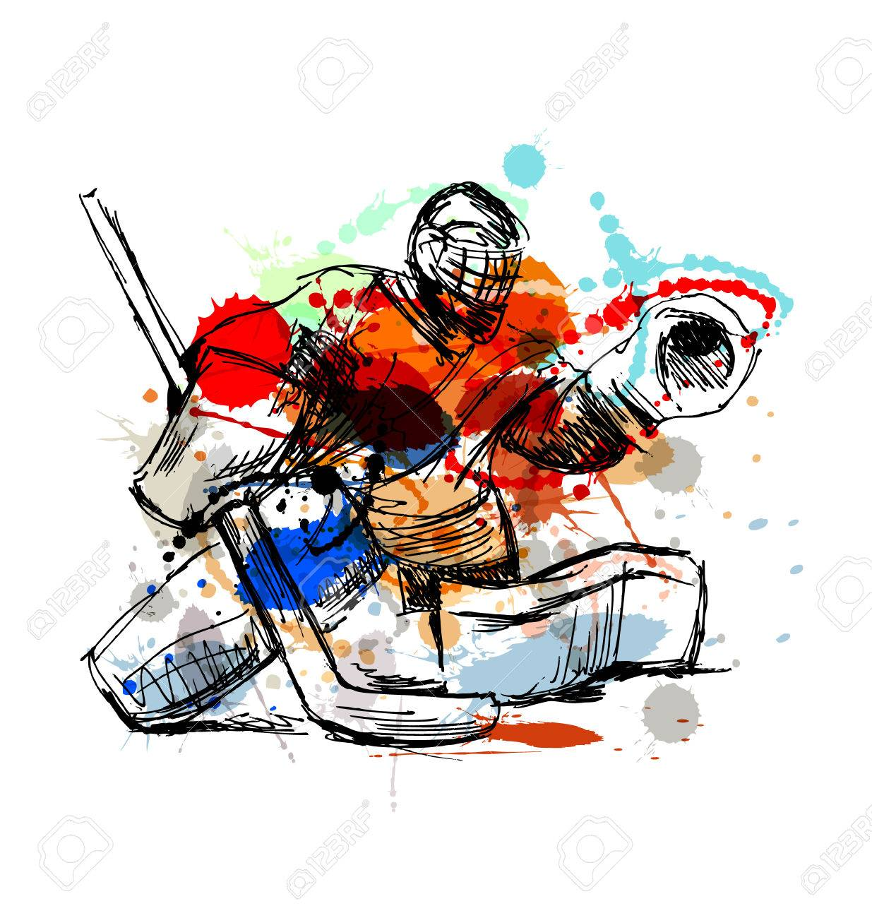 1235x1300 Colored Hand Sketch Hockey Goalie. Vector Illustration Royalty