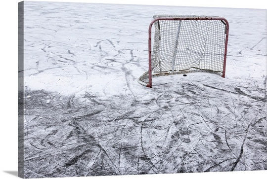 540x363 An Ice Hockey Net On An Outdoor Pond Rink Wall Art, Canvas Prints