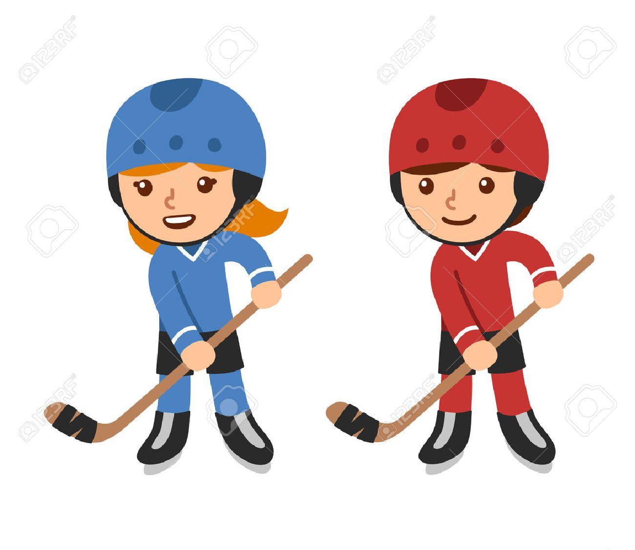 1300x1127 Cute Cartoon Hockey Players, Boy And Girl. Isolated Vector