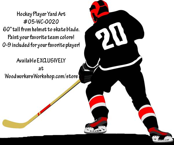 600x501 Hockey Player Left Hand Full Size Woodworking Pattern