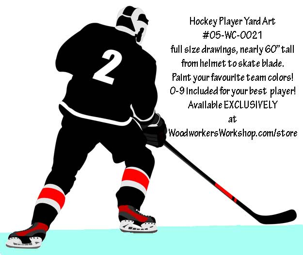 625x527 Hockey Player Right Hand Full Size Woodworking Pattern