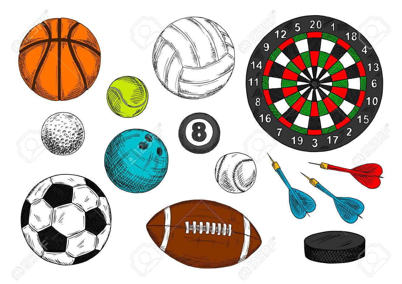 1300x919 Colorful Sketch Drawings Of Sporting Items With Balls For Football