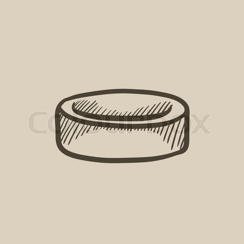 800x800 Hockey Puck Vector Sketch Icon Isolated On Background. Hand Drawn