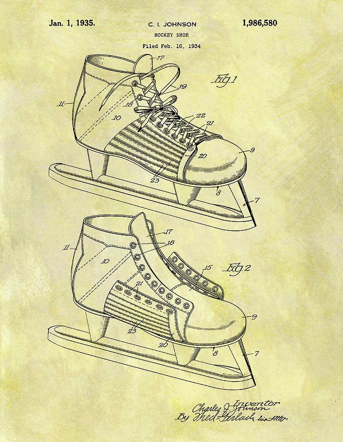 698x900 Ice Hockey Skates Patent Image Drawing By Dan Sproul