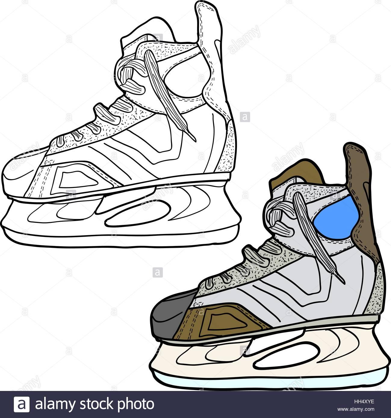 1299x1390 Sketch Of Hockey Skates. Skates To Play Hockey On Ice, Vector