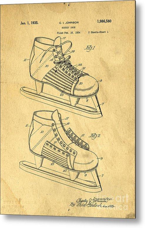493x772 Hockey Skates Patent Art Blueprint Drawing Metal Print By Edward