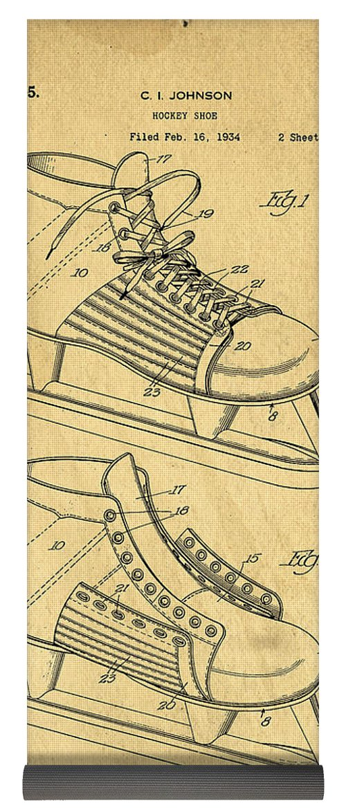 500x1171 Hockey Skates Patent Art Blueprint Drawing Yoga Mat For Sale By