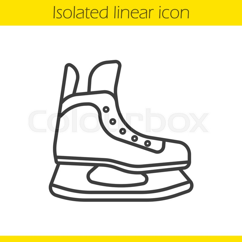 800x800 Ice Skate Linear Icon. Thin Line Illustration. Hockey Skate