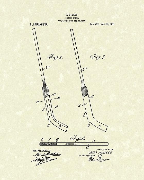 560x700 Hockey Stick Mcniece 1916 Patent Art Drawing By Prior Art Design