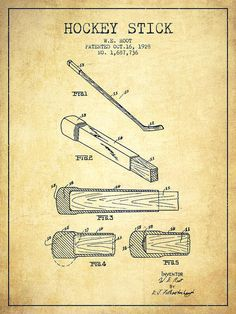 236x314 Hockey Stick Patent Drawing From 1915 Poster By Aged Pixel Hockey