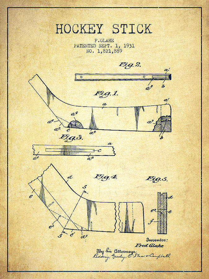 675x900 Hockey Stick Patent Drawing From 1931 Drawing By Aged Pixel