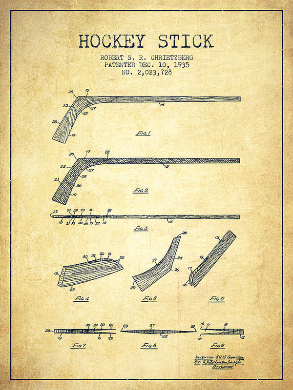 600x800 Hockey Stick Patent Drawing From 1935 Poster By Aged Pixel Hockey