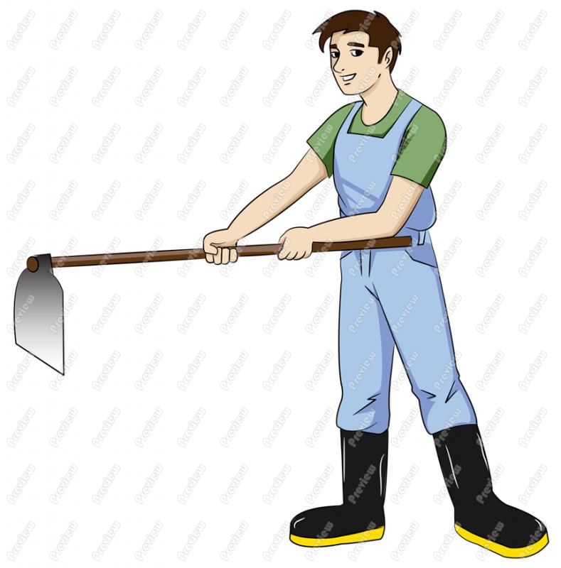 789x800 Man Gardening With Hoe Character Clip Art