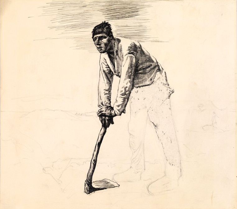 761x673 Sketch Of Millet's Man With A Hoe By Edward Hopper