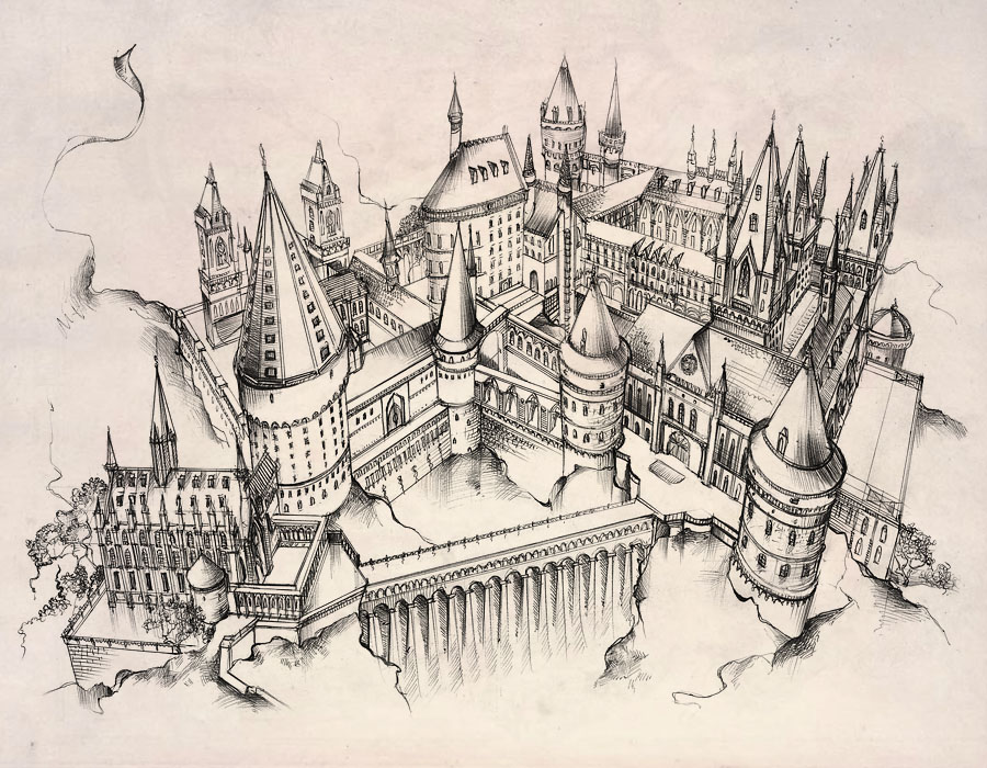 900x700 Hogwarts Castle By Andette